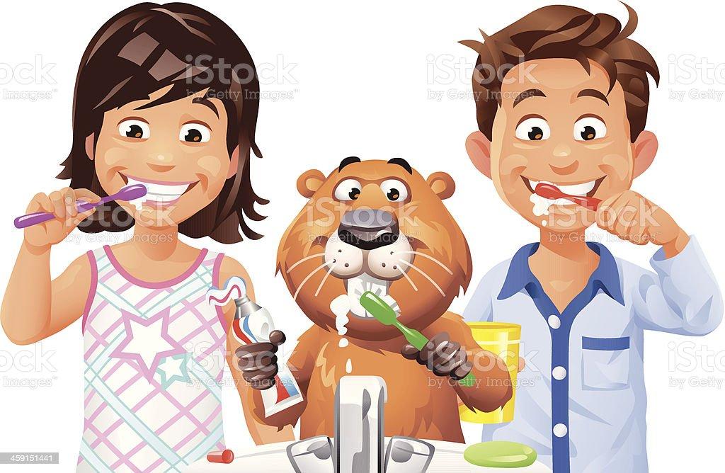 Kids and Beaver Brushing Teeth vector art illustration