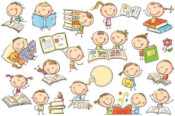 Kids and Books vector art illustration