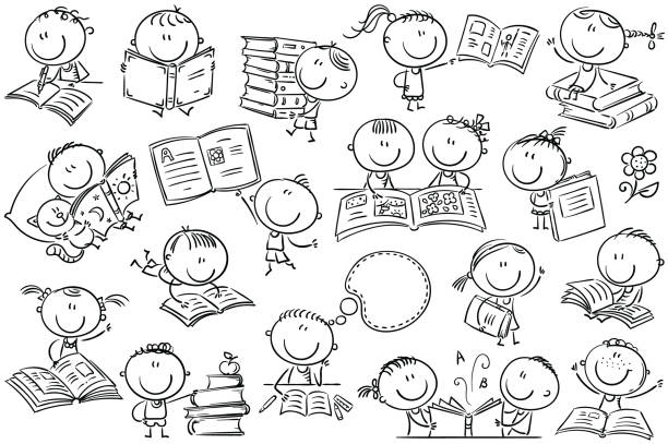 kids and books - book clipart stock illustrations