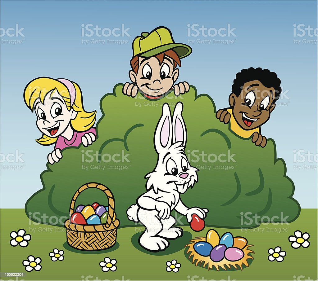 Kids and Easter Bunny royalty-free stock vector art