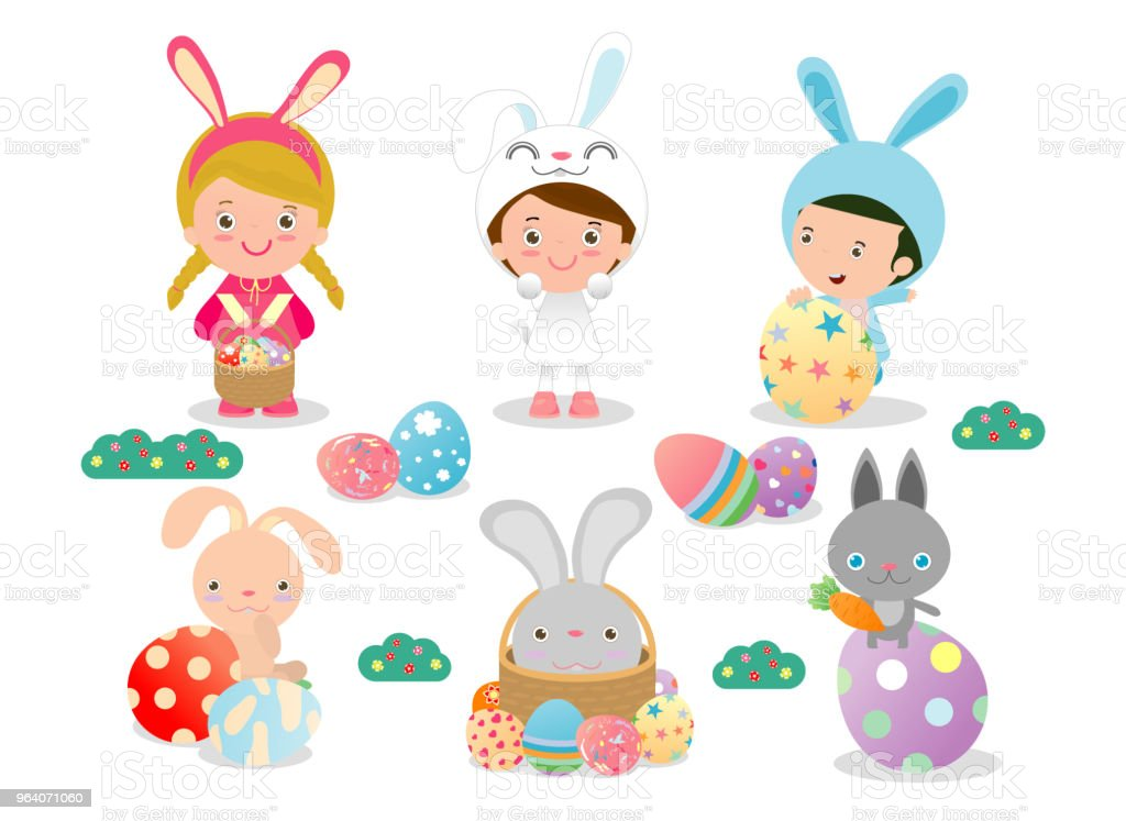 kids and Easter eggs, Basket with rabbit and Easter, characters and icons on white background. Vector illustration - Royalty-free Art stock vector