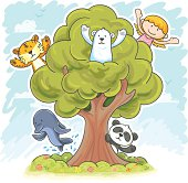 Kids and endangered animals are playing hide and seek in the tree, in colour