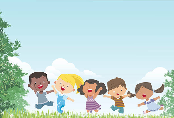 kids and landscape - children stock illustrations, clip art, cartoons, & icons