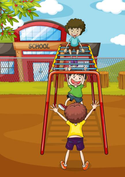 kids and monkey bar - monkey bars stock illustrations, clip art, cartoons, & icons