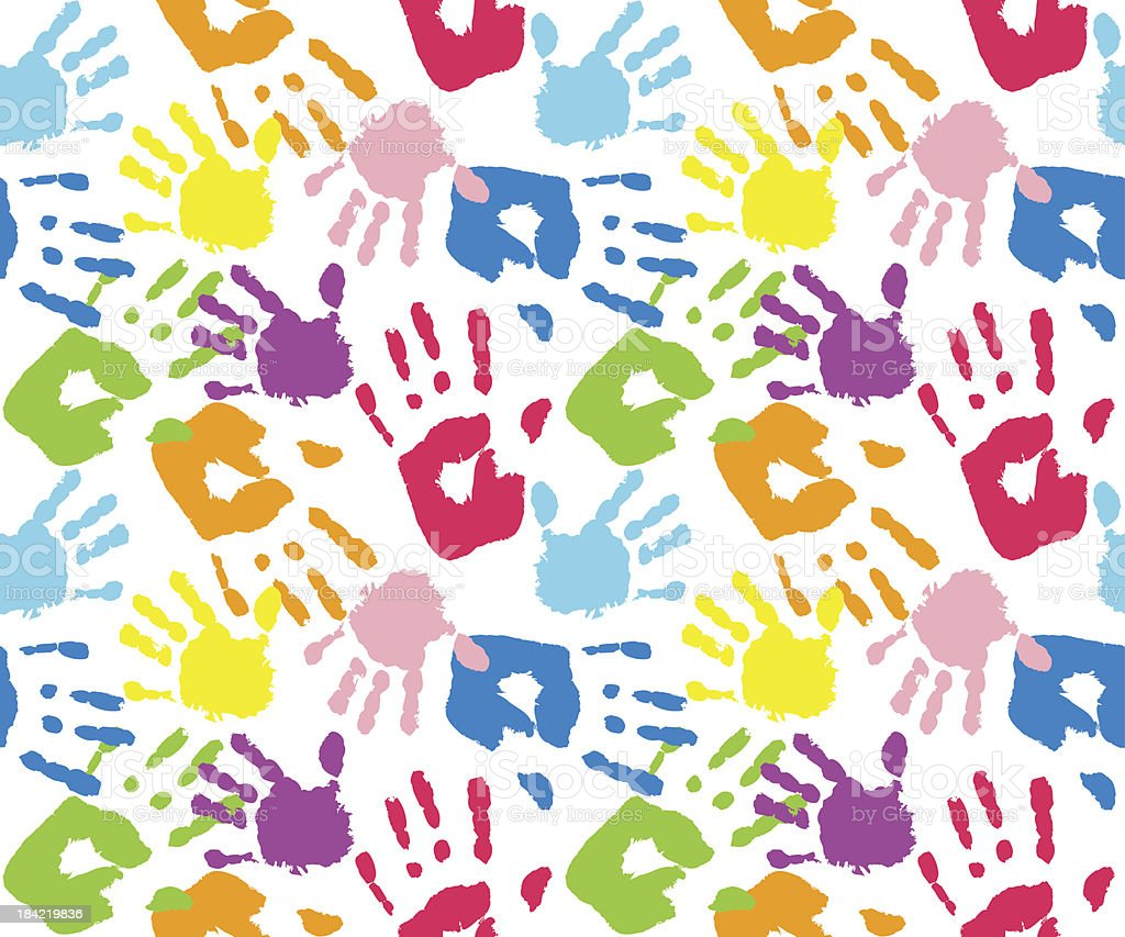 Kid's and mother's handprint, seamless pattern vector art illustration