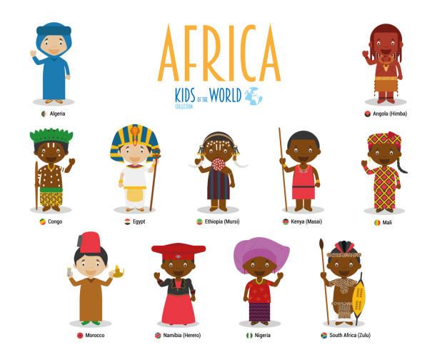 世界的兒童和民族媒介: 非洲。一套11個字元身著不同的民族服裝。 - 阿爾及利亞 幅插畫檔、美工圖案、卡通及圖標