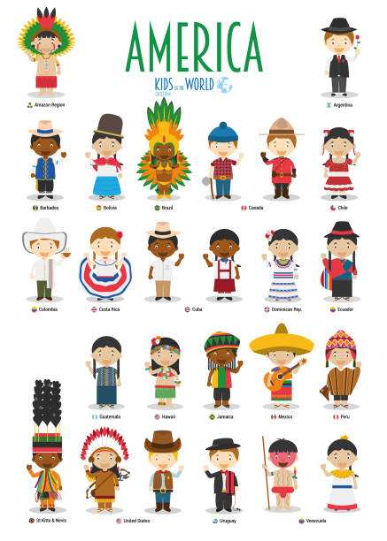 stockillustraties, clipart, cartoons en iconen met kinderen en nationaliteiten van de wereld-vector: amerika. set van 25 tekens gekleed in verschillende nationale kostuums. - colombia land