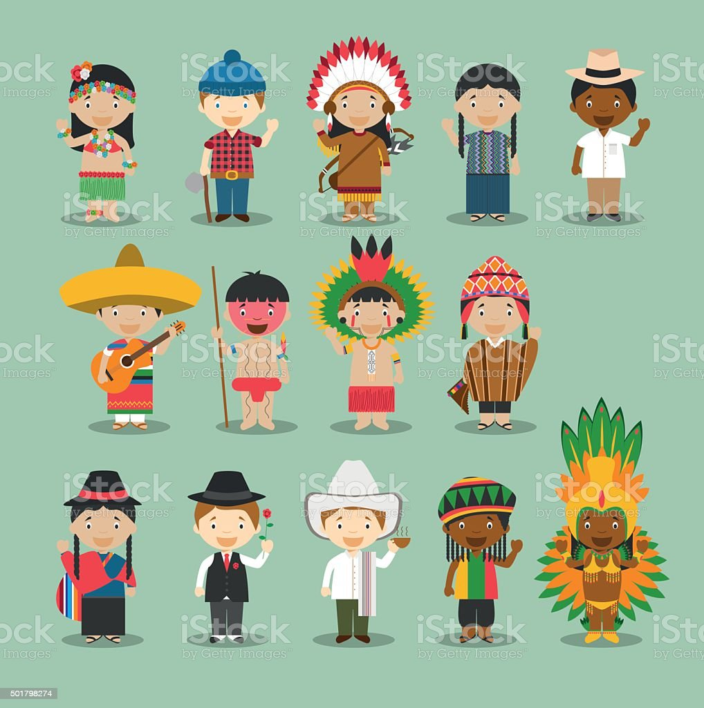 Kids and nationalities of the world vector Set 4: America. vector art illustration