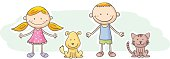 Kids and pets cartoon character, with colour