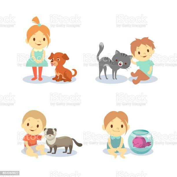 Kids and pets isolated on white background boys and girls with vector id854063622?b=1&k=6&m=854063622&s=612x612&h=t6icdtjt2iwnkjppedqzzf6q9 v8awcb89qm2myanbm=