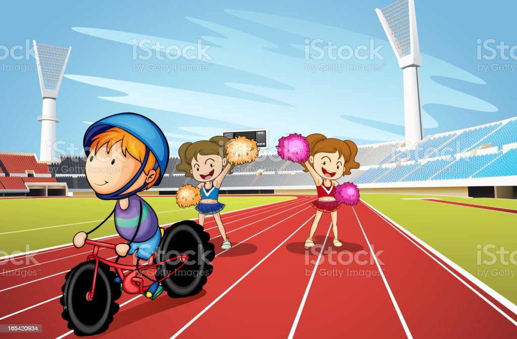 Kids and race track royalty-free stock vector art