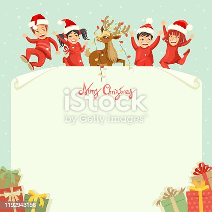 istock Kids and reindeer on letter for Santa Claus 1192943156