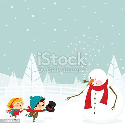 istock Kids and snowman 165690125