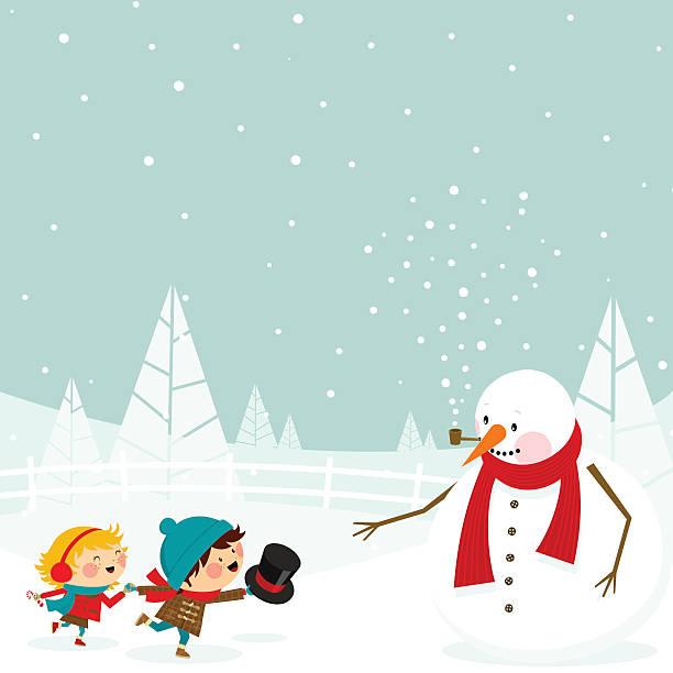 stockillustraties, clipart, cartoons en iconen met kids and snowman - family winter holiday