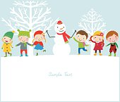 Kids and snowman - illustration