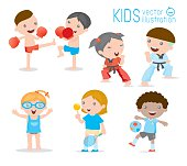 kids and sport, Kids playing various sports on white background ,