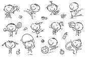 Active kids with sport things representing healthy lifestyle. Easy to print and edit. Vector files can be scaled to any size.