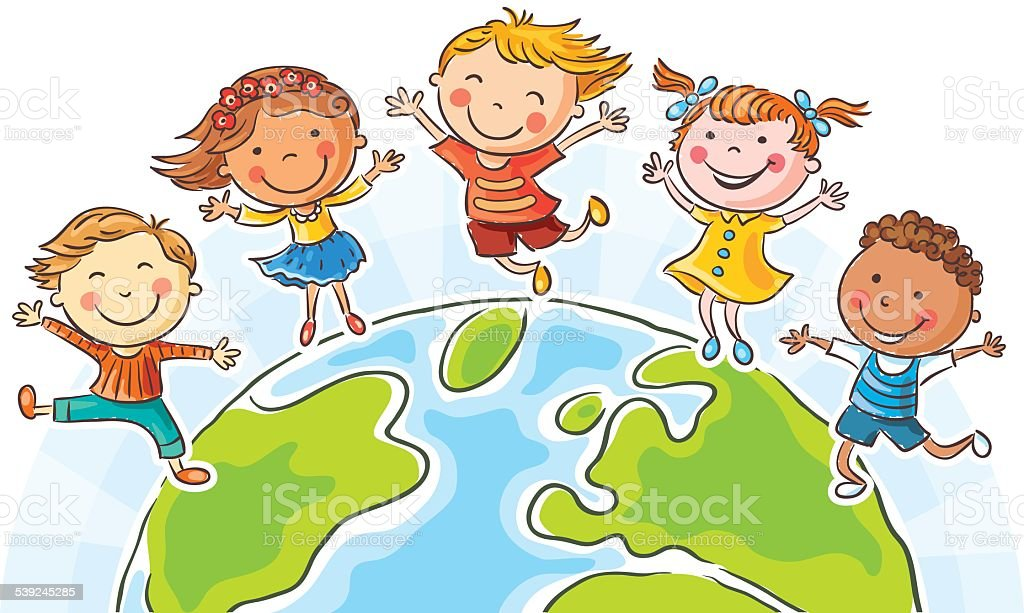 Kids and the Globe vector art illustration