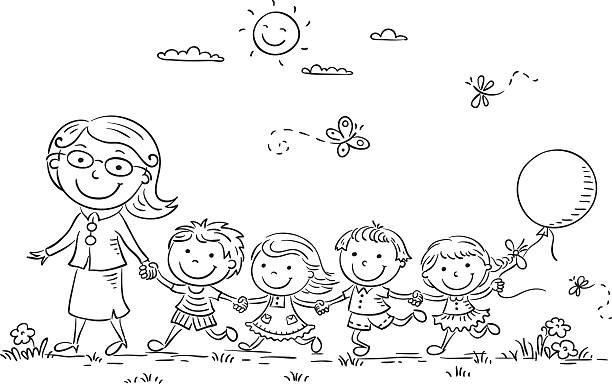 ilustrações, clipart, desenhos animados e ícones de crianças e professor ao ar livre, seu perfil - professor de pré escola