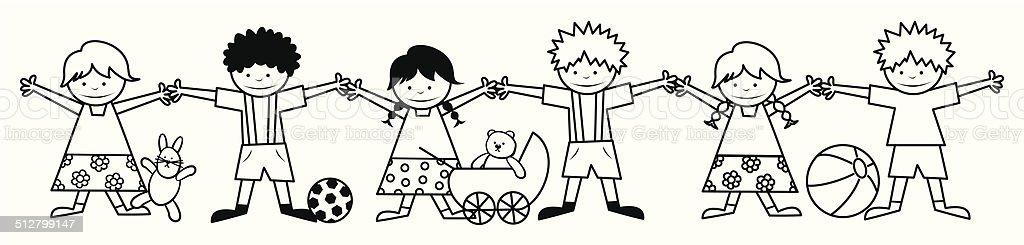 Ilustración de Los Niños Y Juguetes Libro Para Colorear y más banco ...