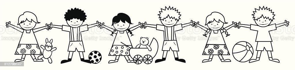 kids and toy, coloring book vector art illustration
