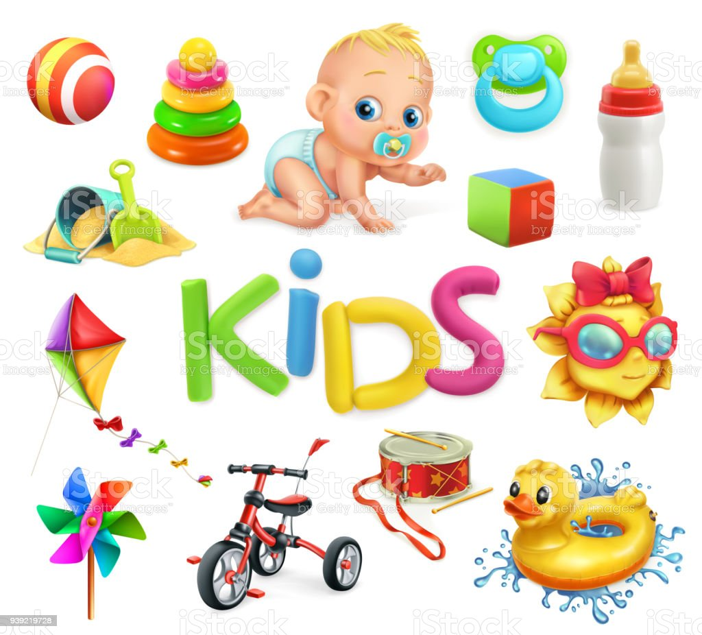 Kids and toys. Children playground, 3d vector icons set