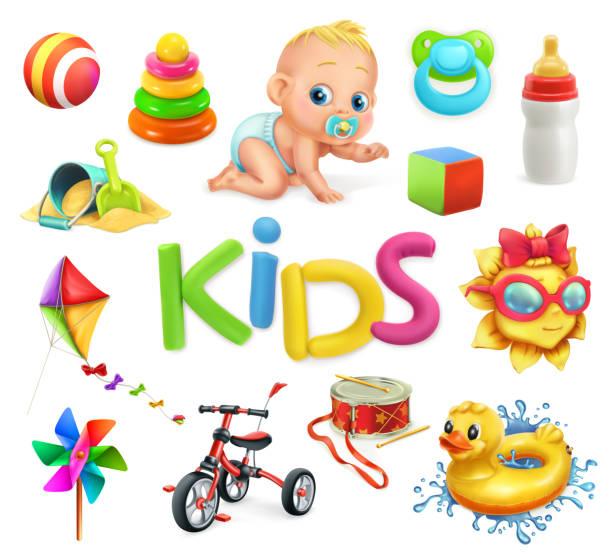 stockillustraties, clipart, cartoons en iconen met kinderen en speelgoed. speeltuin, 3d-vector icons set - baby toy