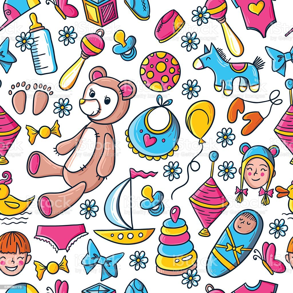 Kids and toys pattern royalty-free kids and toys pattern stock vector art & more images of 2015