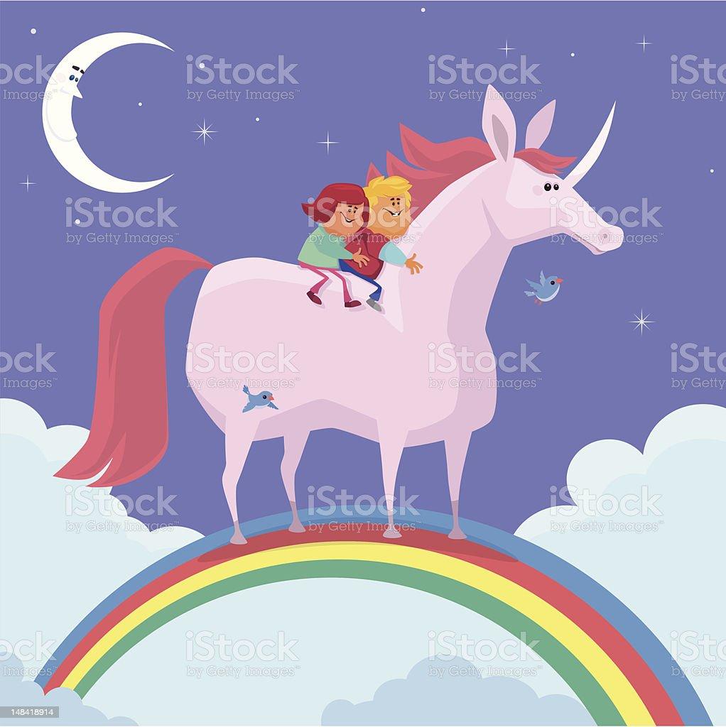 kids and unicorn royalty-free stock vector art