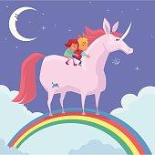 vector illustration of happy kids riding unicorn on rainbow…