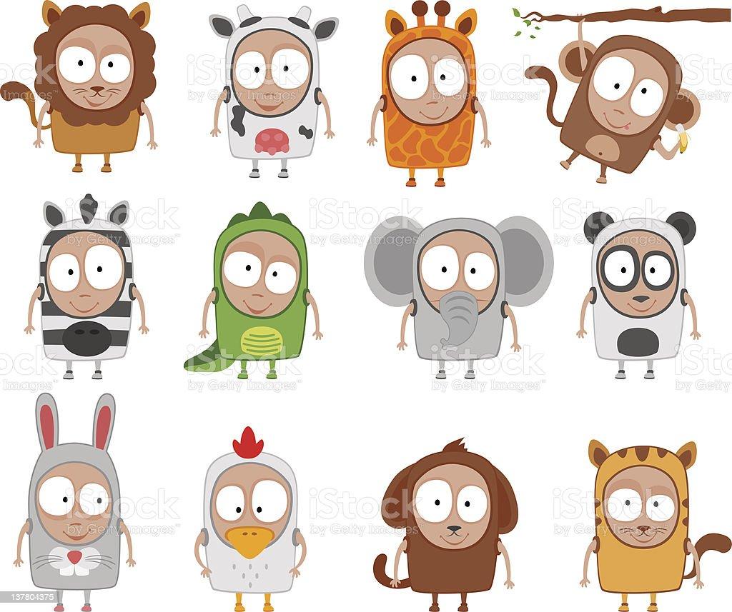 kids animal costumes royalty-free stock vector art