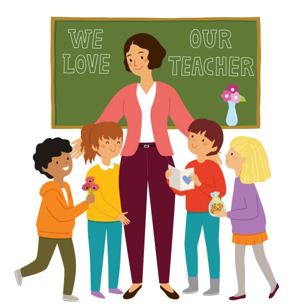 Kids appreciating their teacher vector art illustration