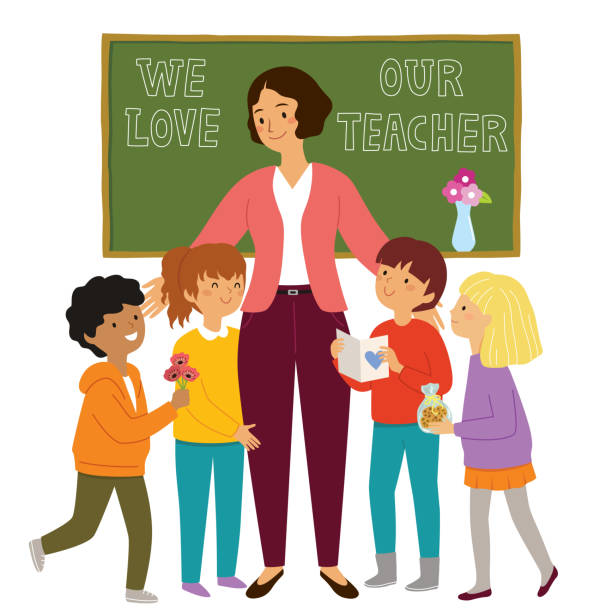 Kids appreciating their teacher Teachers day at school. Kids give flowers and presents to their loving teacher and show their appreciation. teacher appreciation week stock illustrations