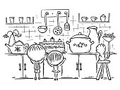 Kids are attracted by the cake in the kitchen, outline vector cartoon drawing