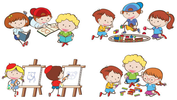 Royalty Free Kids Playing Toys White Background Clip Art Vector