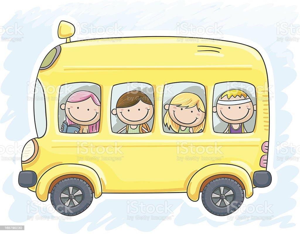 Dzieci Są W Autobus Szkolny - Stockowe grafiki wektorowe i więcej obrazów  Koło - Fragment pojazdu - iStock