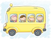 Kids are in the school bus in colurful cartoon style