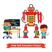 Kids are making and programming huge robot