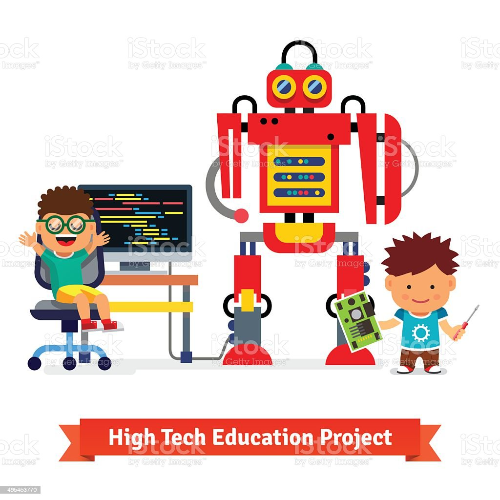 Kids are making and programming huge robot vector art illustration