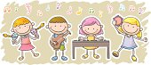 Kids are playing music equipment  colourful cartoon style