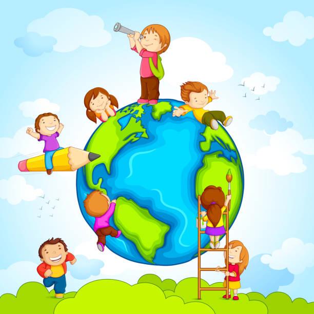 bildbanksillustrationer, clip art samt tecknat material och ikoner med kids around globe - earth from space