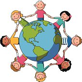 kids holding hands around a globe. objects are grouped and in separate layers.