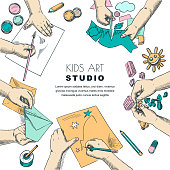 Kids art class work process. Top view illustration of painting and drawing children. Craft and creativity concept. Education banner design. Vector colorful sketch on white background.