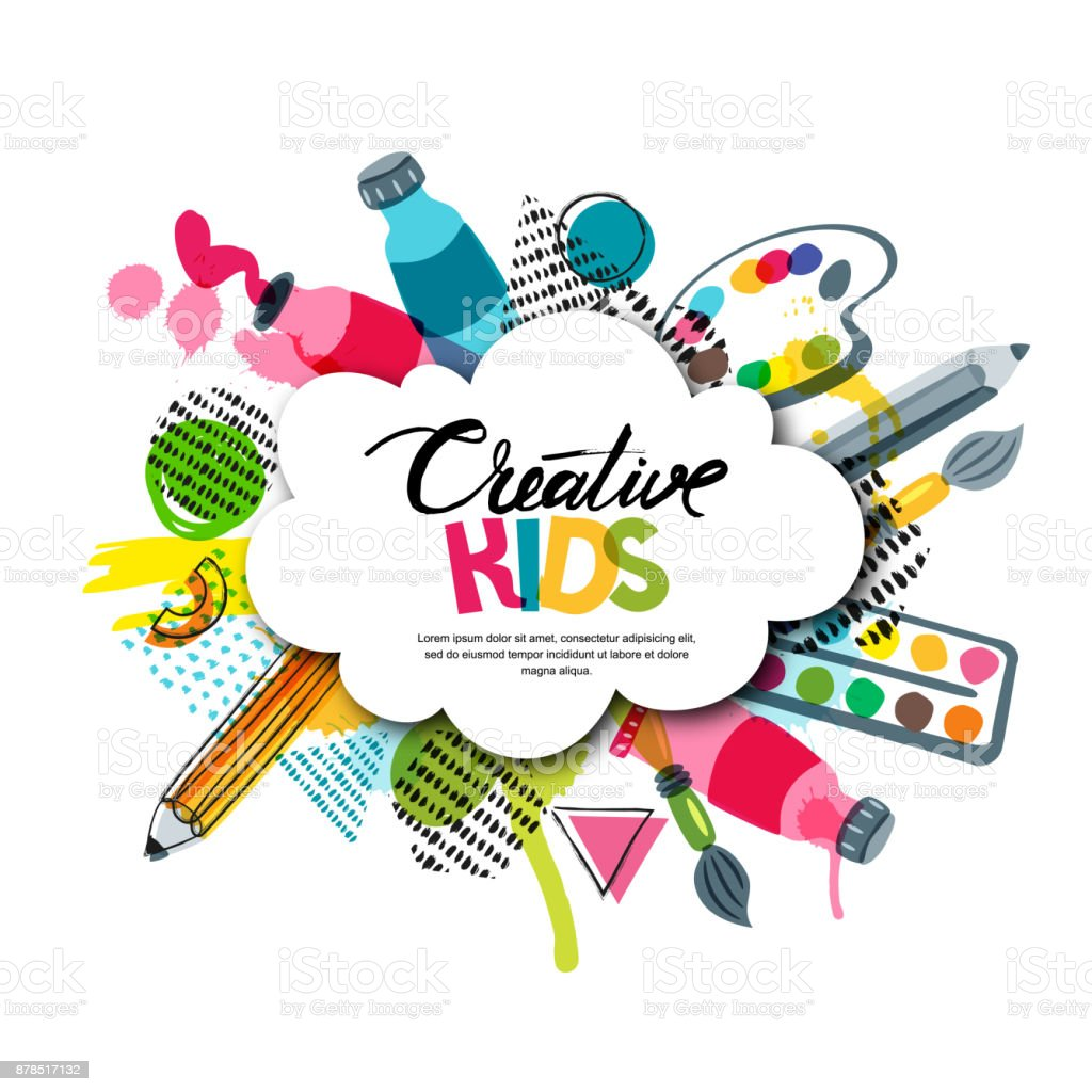 Kids art craft, education, creativity class. Vector banner, poster with white cloud shape paper background. - arte vettoriale royalty-free di Acquerello