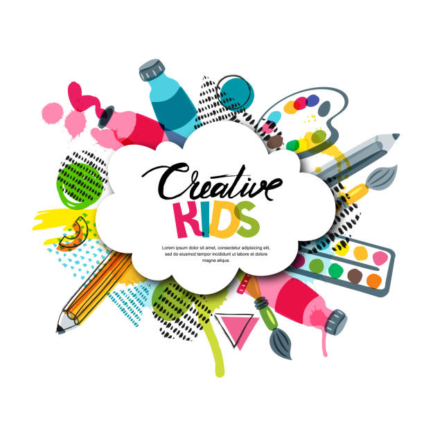 illustrazioni stock, clip art, cartoni animati e icone di tendenza di kids art craft, education, creativity class. vector banner, poster with white cloud shape paper background. - sfondo artistico