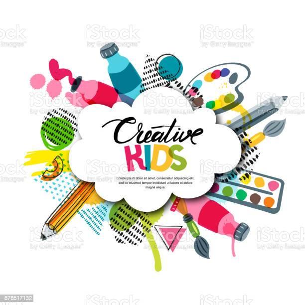 Kids Art Craft Education Creativity Class Vector Banner Poster With White Cloud Shape Paper Background - Immagini vettoriali stock e altre immagini di Acquerello