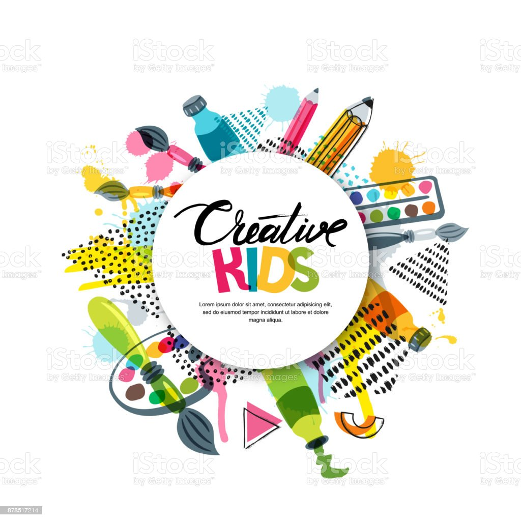 Kids art craft, education, creativity class. Vector banner, poster with white paper background, hand drawn letters vector art illustration