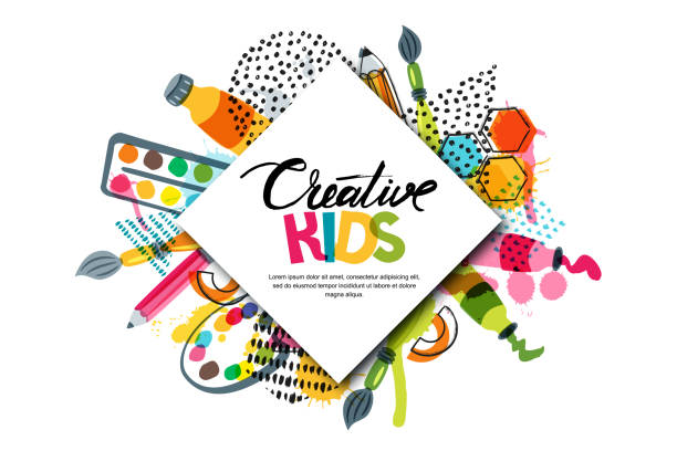kids art craft, education, creativity class. vector banner, poster with white square paper background and lettering - art and craft stock illustrations