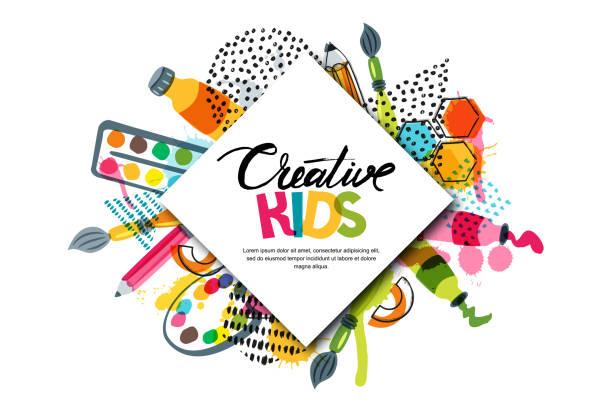예술, 교육, 창의력 수업 아이. 벡터 배너, 포스터 흰색 사각형 종이 배경 및 글자 - 예술 공예품 stock illustrations