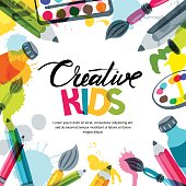 Kids art, education, creativity class concept. Vector banner, poster or frame background with hand drawn calligraphy lettering, pencil, brush, paints and watercolor splash. Doodle illustration.